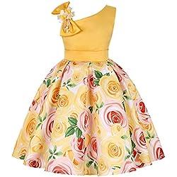 Moneycom Jupe Bebe Fille Anniversaire Tulle Robe Ceremonie Mariage Sunny Fashion Floral Bébé Filles Princesse Demoiselle d'honneur De Mariée Soirée Jaune(12-24 Mois)