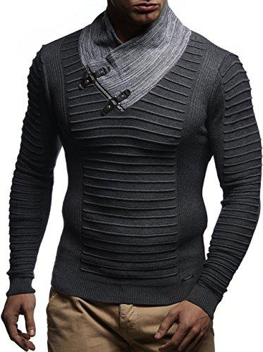 LEIF NELSON Herren Pullover Strickpullover Hoodie Basic Schalkragen Sweatshirt langarm Sweater Feinstrick LN1620; Gr__e M, Anthrazit