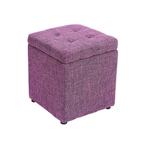 Repose-Pieds Salon Tabouret De Linge Tabouret De Rangement Ménage Changement De Chaussure Banquette Multifonction Hauteur 35 × Largeur 30cm GW (Couleur : Dark Purple)