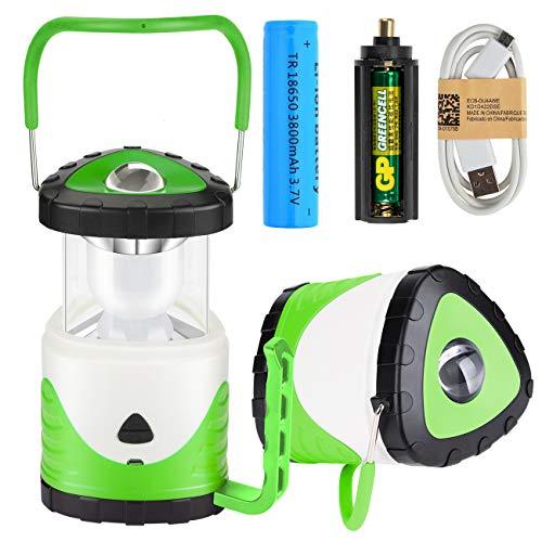 MojiDecor Campinglampe LED Zeltlampe 2 in 1 Tragbare Laterne Taschenlampe Suchscheinwerfer wiederaufladbar RGB Farbwechsel Campingleuchte für Camping Outdoor Wandern (Grün)
