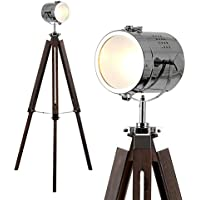 Stylish Vintage Retro Industrial Photography/Film Studio Style Adjustable Tripod Floor Lamp In A Dark Wood And Polished Chrome Design With Frosted Lens