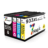 932XL 933XL Compatible, 7Magic Compatible Cartouches d'encre HP 932XL 933XL Remplacement pour Imprimante HP Officejet 7110 7612 6600 7610 6700 6100,Grande Capacité (1 Noir 1 Cyan 1 Magenta 1 Jaune)