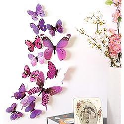 OHQ 12PC Papillon Costume 3D Diy Stickers Muraux Autocollants Papillon DéCor À La Maison DéCorations De La Chambre Nouveau (Violet, 12pcs)