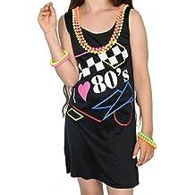 Foxxeo 40218i Mujer Vestido I Love The 80 años Neon Teens Disfraz Festival Fasching Flower Power