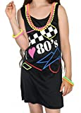 Foxxeo 40218I Vestito da Donna I Love The Anni '80 Neon Teen Costume Festival Carnevale Flower Power Hippie Taglia S - XXL