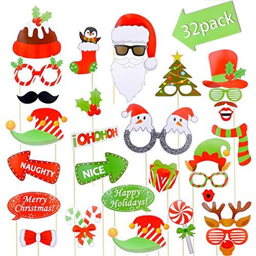 Yansion Photo Booth Props, 32pcs Weihnachten lustige Foto Hintergrund Zubehör Foto Requisiten Weihnachtsfeier Dekoration Lieferungen