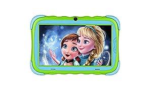 "Kindertablet, 7"" Kinder Tablet Pad Lerntablet für Kids, 1GB + 16 GB, Android 7.1 OS, IPS-Touchscreen, WiFi, Bluetooth & Google Play, Dual-Kamera mit kindgerechte Silikon Hülle Tablet"