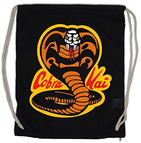 51c8cQ511gL - Urban Backwoods Cobra Kai Dojo Logo Bolsa de Cuerdas Karate Kid Movie Film Kult Retro Kampfsport Shirt