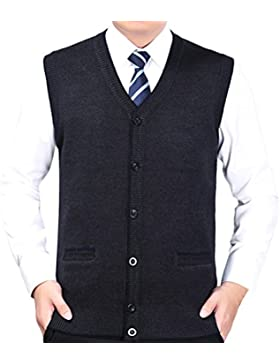 Zhhlinyuan alta calidad Mens Men's Father Business Winter Button Down Sleeveless V-neck Pullover Knitted Jumper...