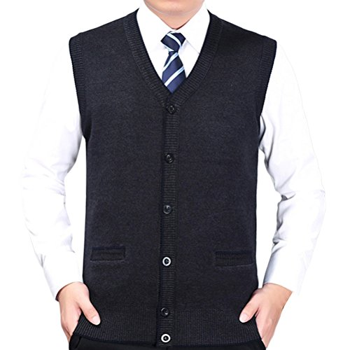 Zhhlaixing Herren Mens Father Button Down Soft V-neck Knitted Knitwear Pullover Jumper Vest Waistcoat Gilet Cardigans Christmas Thanksgiving Gift (Button-down V-neck Cardigan)