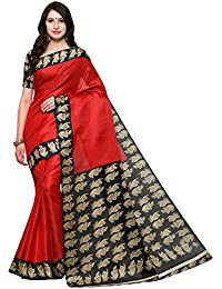 Saree Mall Women's Cotton Silk Saree With Blouse Piece (Srjkh016_Red)