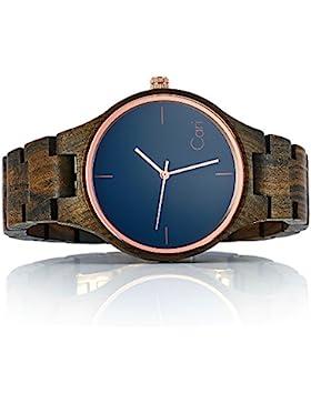 """[Gesponsert]Cari Holzuhr """"Oslo"""" – Armbanduhr für Damen und Herren aus feinem Sandelholz für angenehmen Tragekomfort – handgefertigt..."""
