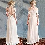 CJJC Mode Damen Brautkleider Champagner Farbe Einfache Backless Chiffon Maß-Abend Abendkleider,Us6eu36uk10