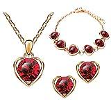 Mianova Damen 3 teiliges Set Rosegold IP in Herz Form mit runden Swarovski Elements Kristall - Ohrringe Armband und Kette Rose Rot
