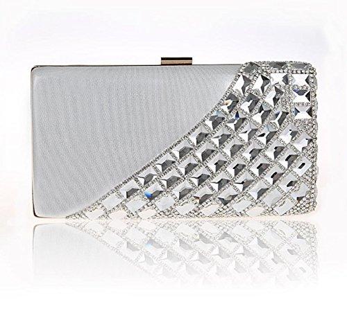 GSHGA Womens Frizione Borse Strass Sposa Borsa Sacchetto Del Pranzo Il Sacchetto Catena Shoulder Bags,Red Silver