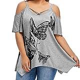 VEMOW Sommer Elegante Damen Große Größe Frauen Schmetterling Druck Oansatz Schwarz T-Shirt Kurzarm Casual Täglichen Party Tops Bluse rückenfrei Pullover(Grau, EU-48/CN-2XL)