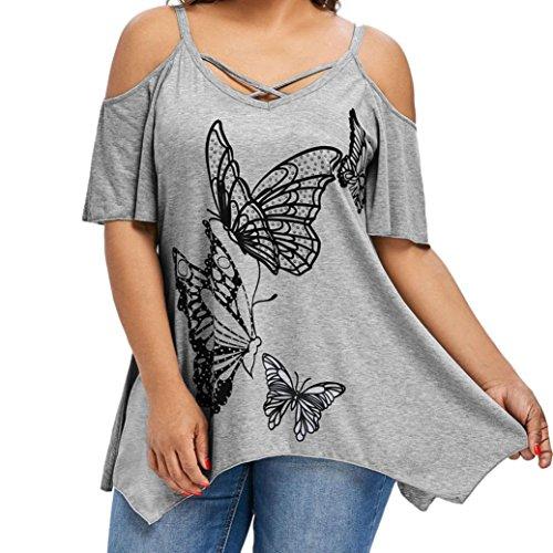VEMOW Sommer Elegante Damen Große Größe Frauen Schmetterling Druck Oansatz Schwarz T-Shirt Kurzarm Casual Täglichen Party Tops Bluse rückenfrei Pullover(Grau, EU-40/CN-S)