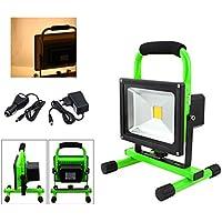VINGO® 20W LED Foco Recargable Blanco Cálido Floodlight para Trabajo de Noche Lámpara Exterior LED Cargador y adaptador incluidos Resistente al agua IP65
