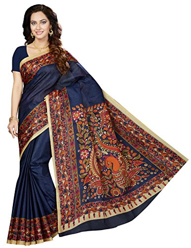 Ishin Art Silk Purple Printed Party Wear Wedding Wear Casual Wear Festive Wear New Collection Latest Design Trendy Women's Saree/Sari  available at amazon for Rs.399