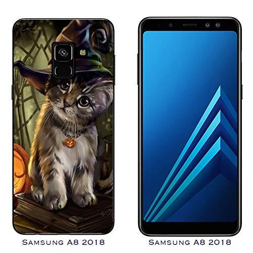 Hülle Galaxy A8 (2018) Case Samsung Galaxy A8 (2018) Halloween Zauberer Katze/Cover Druck auch an den Seiten/Anti-Rutsch Anti-Rutsch Anti-Scratch Schock-resistenten Schutz Schutzulle Starre