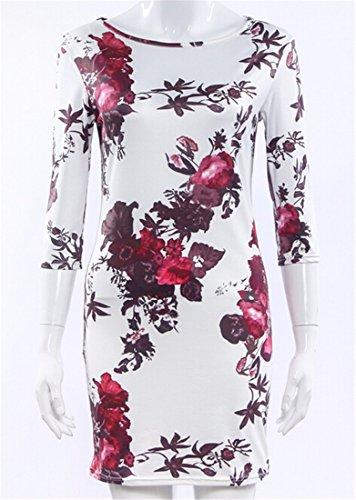 QIYUN.Z Les Femmes De La Mode Elegant Motif Floral Taille Plus Moulante Robe De Cocktail D'Ete Blanc
