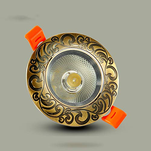 Verlight LED-Kupfer-Deckeneinbaustrahler Antike Blumen-Frosted Lampenschirm-helle Lampe 45 Grad-Öffnungswinkel-Softlight-Platten-Birnen-Gang-Portal-Balkon-hängende Laternen Innenlandhaus-Küche-rustika -