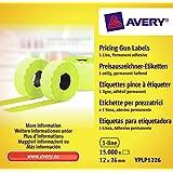 Avery Boîte de 10 Rouleaux de 1500 Etiquettes Permanentes - 26x12mm - Jaune (YPLP1226)