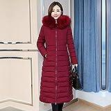 LYWBLACK WintermantelFrauen Lange Over-The-Knie schwere Baumwolle gepolsterte Jacke mit dickem Mantel, Burgund, XXL