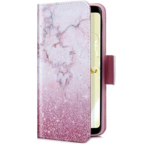 Uposao Kompatibel mit Huawei P20 Lite 2019 Handyhülle Handy Tasche Schutzhülle Cool Muster Flip Case Brieftasche Klapphülle Leder Hülle Bookstyle Wallet Hülle Cover Magnetisch,Marmor Rosa