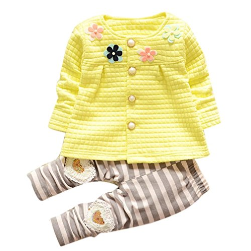 Sannysis Baby Mädchen Warme Baumwoll Blumen Lange Hülsen Wolljacke + lange Hosen (110, Gelb)