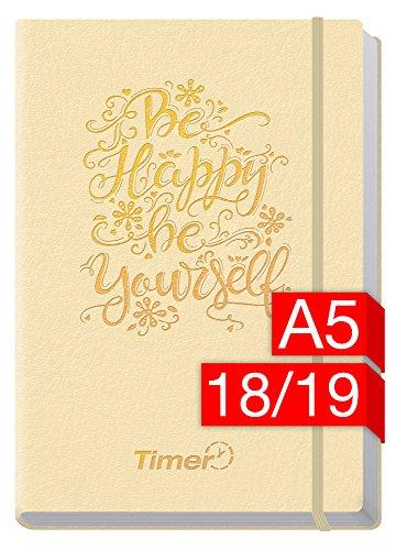 Chäff-Timer Premium A5 Kalender 2018/2019 [Champagner] 18 Monate Juli 2018-Dezember 2019 - Gummiband, Einstecktasche - Terminkalender mit Wochenplaner - Organizer - Wochenkalender