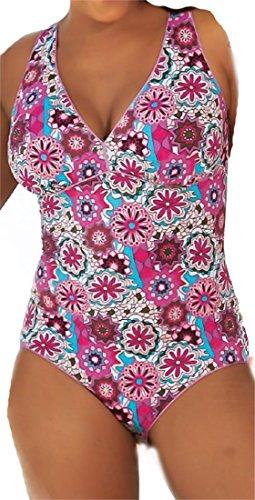 AdoniaMode Damen Badeanzug dt. Große Größen Blumen Muster Einteiler  Figurformend Bademode Softcups Hippie Lila Türkis Bunt Gr.56 C 5e1e0432db