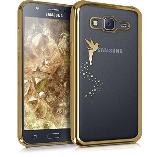kwmobile Cover compatibile con Samsung Galaxy J5 (2015) - Custodia protettiva in silicone TPU cristallo trasparente - Back Cover Case cellulare oro / trasparente