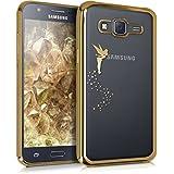 kwmobile Elegante y ligera funda Crystal Case Diseño hada para Samsung Galaxy J5 (2015) en oro transparente