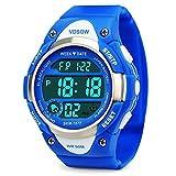 Jungen Digital Uhren, Kinder Sport Armbanduhr mit Alarm, Outdoor 50 m Wasserdicht Kinder Elektronische Handgelenk Uhren mit LED-Licht Stoppuhr für Jugendliche Jungen - Blue