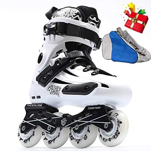 CHEXIAOlbx Vintage-Rollschuhe:Disco-Skates Der 80er Jahre,Jugend-Inline-Skates,Kinder-Allrad-Skates,2 Verschiedene Farboptionen,Schuhe In Der Größe Verstellbar,EU35-44 (Color : White, Size : EU 42)