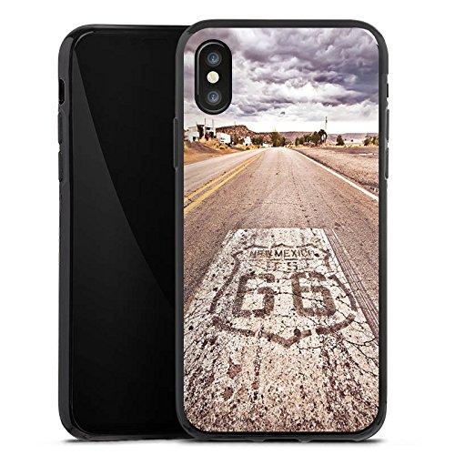 Apple iPhone 8 Hülle Case Handyhülle USA Biker Strasse Silikon Case schwarz