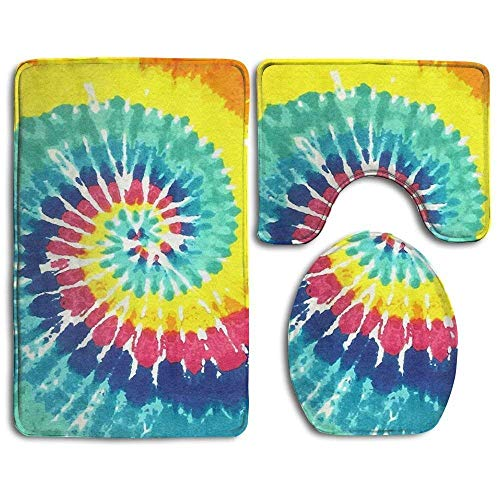 Dor675ser Bath Decor, Bath Rugs, Bath Mat,Tie Dye Bathroom Carpet Rug,Non-Slip 3 Piece Bathroom Mat Set Tie-dye-slip