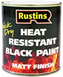 Rustins HRMB250 250ml Heat Resistant Paint - Black