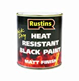 Rustins HRMB250 250ml Heat Resistant Paint - Black