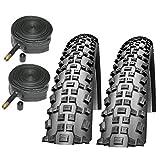 """Schwalbe Rapid Rob 26"""" x 2.25 Mountain Bike Tyres & Schrader Inner Tubes"""