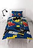 Lego Batman Movie Bettwäsche, Filmhelden-Design mit sich wiederholendem Druck, für Einzelbett