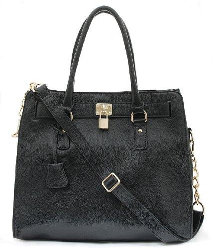 Bovari XL Golden Padlock Bag echt Leder Handtasche (37x30x16 cm) - Black/schwarz/Noir