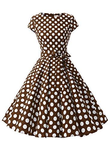 Dressystar Robe à 'Audrey Hepburn' Classique Vintage 50's 60's Style à mancheron Café à pois blanc B