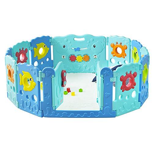 Aocean Laufgitter Laufstall, Rund Kunststoff Spielgitter Baby Absperrgitter Krabbelgitter Schutzgitter für Kinder - Rechteck erweiterbar -