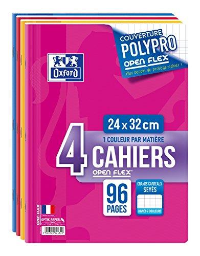 Oxford Openflex Lot de 4 Cahiers Agrafes 24×32 96p 90g Grands Carreaux
