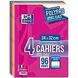 Oxford Openflex Lot de 4 Cahiers Agrafes 24x32 96p 90g Grands Carreaux