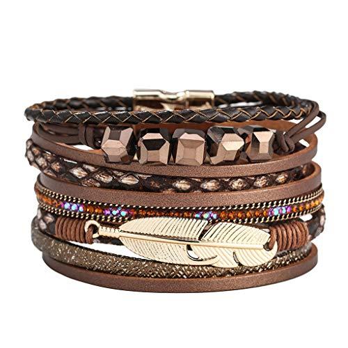 jieGREAT Damenschmuck,Damen Feder wickeln Armband Kristall Armband handgemachte Schmuck böhmischegeschenk