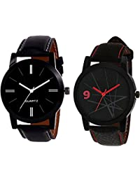Xforia Boys Watch Black Leather Party Wear Analog Watches For Men Pack Of 2