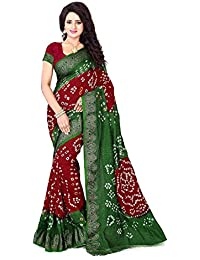 Shree Sondarya Bandhani Women's Art Silk Saree With Blouse Piece (Ssb-S3008-01_Maroon-Green)